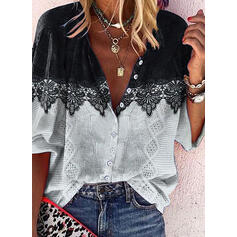 Color Block Lace V-Neck Long Sleeves Button Up Casual Shirt Blouses