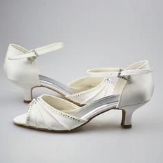 Frauen Satin Kätzchen Absatz Peep Toe Sandalen mit Schnalle Strass