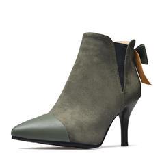 Femmes PU Talon stiletto Escarpins Bout fermé Bottines avec Bowknot Semelle chaussures