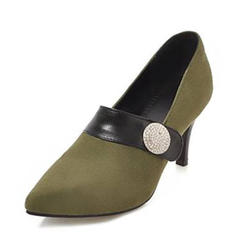 Women's Suede Cone Heel Pumps Closed Toe With Buckle Split Joint shoes