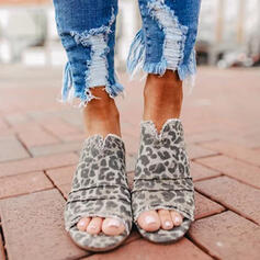 Women's Suede Chunky Heel Sandals Peep Toe Slippers With Animal Print shoes