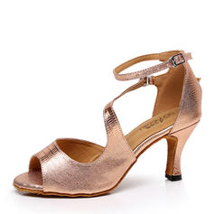 Women's Leatherette Heels Latin With Animal Print Dance Shoes