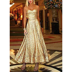 Sequins Sleeveless A-line Maxi Party Dresses