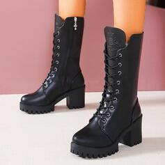 Női PU Chunky sarok Mid-Calf Csizma Martin csizmák Kerek lábujj -Val Cipzár Lace-up Szolid szín cipő