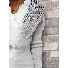 Pailletter Lange ærmer Bodycon Knælængde Casual/Elegant Sweater/Blyant Kjoler