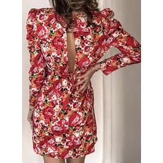 Print/Floral Long Sleeves/Puff Sleeves Bodycon Above Knee Casual/Elegant Dresses