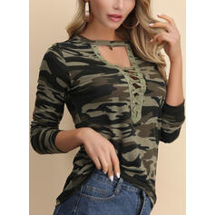 Print V-Neck Long Sleeves Casual Sexy Blouses
