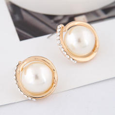 Basit alaşım Taslar Faux Pearl Ile İmitasyon İnci Yapay elmas Kadın Küpeler