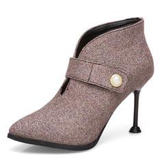 Femmes Similicuir Talon stiletto Escarpins Bottes Bottines avec Perle d'imitation Zip chaussures