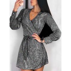 Sequins Long Sleeves A-line Above Knee Little Black/Party/Elegant Dresses