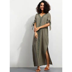Lace/Solid 1/2 Sleeves Shift Casual/Vacation Maxi Dresses
