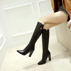 Women's PU Chunky Heel Pumps Knee High Boots With Zipper Others shoes