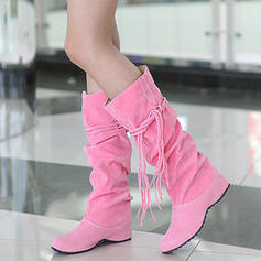 Women's Suede Chunky Heel Knee High Boots With Lace-up Tassel shoes
