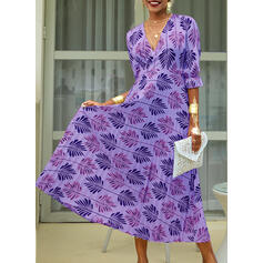 Print 1/2 Sleeves A-line Casual/Vacation Maxi Dresses