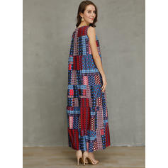 Patchwork Sleeveless Shift Tank Casual/Vacation Maxi Dresses