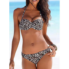 Leopard Print Push Up Halter Sexy Eye-catching Bikinis Swimsuits