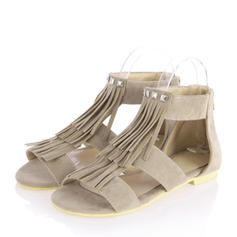 Women's Suede Flat Heel Sandals Flats Peep Toe With Zipper Tassel shoes