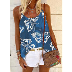 Animal Print Spaghetti Strap Sleeveless Casual Tank Tops