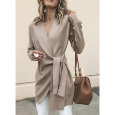 Woolen Polyester Long Sleeves Plain Solid Cardigans