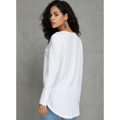 Solid V-Neck Long Sleeves Button Up Knit Blouses