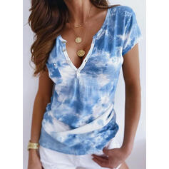Tie Dye V-Neck Short Sleeves Button Up Casual T-shirts