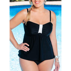 Splice color Strap Plus Size Tankinis Swimsuits
