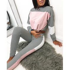 Girocollo Maniche lunghe Color Block Gli sport Set di top e pantaloni