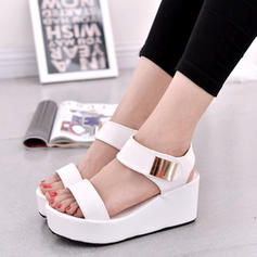 Women's Suede Wedge Heel Sandals Peep Toe Slingbacks With Buckle shoes