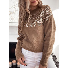 Solid Sequins Crew Neck Casual Sweaters