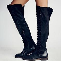 Mulheres PU Sem salto Sem salto Fechados Botas com Fivela sapatos