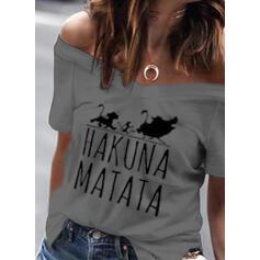 Estampado Animal Sin Hombros Manga corta Casual Camisetas
