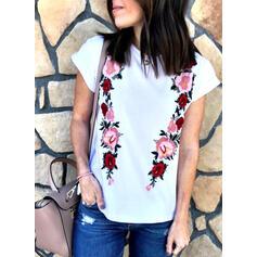 Print Bloemen Ronde Hals Korte Mouwen Casual T-shirts