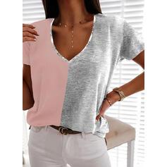 Color Block V-hals Kortermer T-skjorter