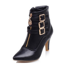 Women's PU Stiletto Heel Ankle Boots With Buckle Zipper shoes