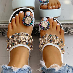 Platforme Înalte Sandale Platformă Platforme Puţin decupat în faţă Şlapi Inel pentru degetul de la picior cu Ştrasuri Cataramă Lanţ pantofi