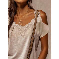 Jednobarevný Krajka Odhalená Ramena Krátké rukávy Neformální Bluze