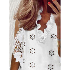 Solid Lace Hollow-out Cold Shoulder 3/4 Sleeves Elegant Blouses