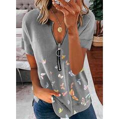 Animal Print V-Neck Short Sleeves Casual Blouses