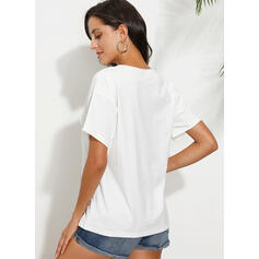 Print V-Neck Short Sleeves Casual T-shirts