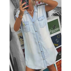 Solid Sleeveless Shift Above Knee Casual/Denim Shirt Dresses