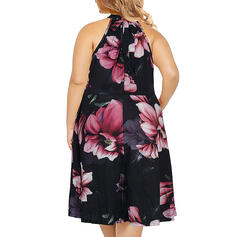 Estampado/Floral Sem mangas Evasê Comprimento do joelho Casual/Tamanho positivo Vestidos