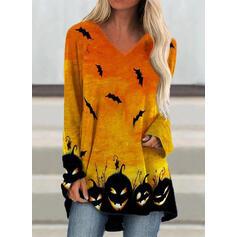 Djur V-ringning Långa ärmar Fritids Halloween T-shirts