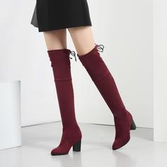 Frauen Veloursleder Stämmiger Absatz Absatzschuhe Stiefel Stiefel über Knie mit Bowknot Schuhe