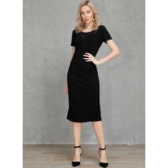 固体 半袖 ボディコンドレス 膝丈 リトルブラックドレス/パーティー ペンシル ドレス