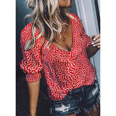 Print V Neck 1/2 Sleeves Casual Sexy Blouses