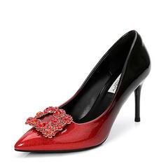 Femmes Cuir verni Talon stiletto Escarpins Bout fermé avec Strass chaussures
