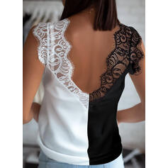 Color Block Lace V-Neck Sleeveless Casual Tank Tops