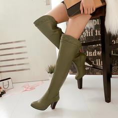 Frauen PU Stämmiger Absatz Absatzschuhe Stiefel Stiefel über Knie mit Reißverschluss Hohl-out Schuhe