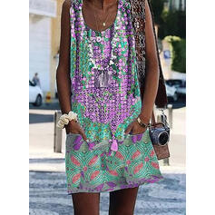 Print Sleeveless Shift Above Knee Casual/Elegant Dresses