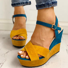 Women's PU Wedge Heel Sandals Peep Toe With Buckle shoes